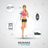 Woman sport jogging wearable technology Stock Photos