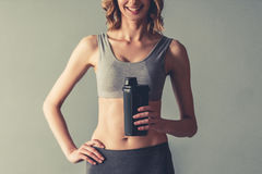 Woman with sport nutrition royalty free stock photo