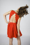 Woman in sport red dress shake head Royalty Free Stock Images