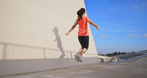 Woman sport and rope skipping stock photography