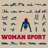 30 woman sport style complete collection Stock Photos