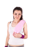 Woman sport towel Stock Photography