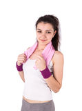 Woman sport towel Royalty Free Stock Photo