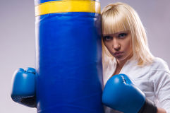 Woman in sports is a boxing Stock Images
