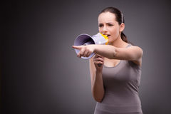 The woman in sports concept with loudspeaker Royalty Free Stock Photography
