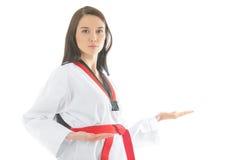 Woman in the sports kimono. On a white background Royalty Free Stock Photo