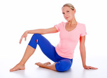 Woman in sports outfit Stock Images
