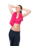 Woman in sports outfit smiling Royalty Free Stock Photo