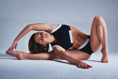 Woman sports stretching Stock Photo