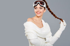 Woman in sports thermal body for skiing training ski googles Royalty Free Stock Photos