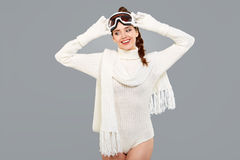 Woman in sports thermal body for skiing training ski googles Royalty Free Stock Image