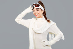 Woman in sports thermal body for skiing training ski googles Stock Image