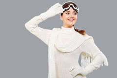 Woman in sports thermal body for skiing training ski googles Stock Images