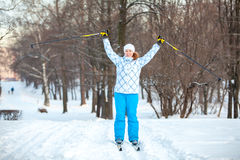 Woman sportsman on cross ski Stock Photo