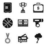 Woman sportsmanship icons set, simple style. Woman sportsmanship icons set. Simple set of 9 woman sportsmanship vector icons for web isolated on white background Stock Image