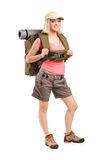 Woman in sportswear with backpack Royalty Free Stock Images