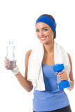 Woman in sportswear with bottle Stock Photo