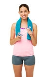 Woman In Sportswear Holding Towel And Water Bottle Stock Images