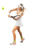 Woman in sportswear plays tennis at training Stock Photo
