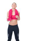 Woman in sportswear smiling and looking up Royalty Free Stock Photography