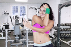 Woman with sportswear taking selfie photo Stock Images