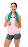 Woman In Sportswear With Towel Around Neck Royalty Free Stock Image