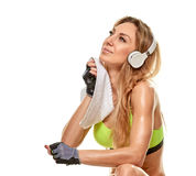 Woman After sporty workout. sweating Stock Photos
