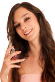 Woman spraying a parfum isolated Royalty Free Stock Image