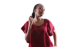 Woman spraying perfume on neck Stock Images