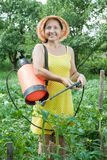 Woman spraying plant in field royalty free stock photo