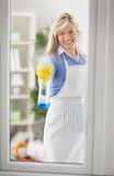 Woman spraying window Stock Images