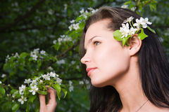 Woman at spring Stock Photo