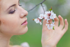 Woman in spring Stock Image