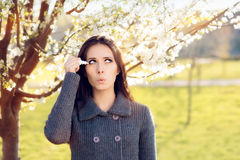 Woman with Spring Allergies Using Eye Drops Royalty Free Stock Images
