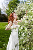 Woman in spring blossom garden Royalty Free Stock Images