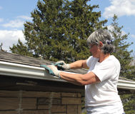 Woman spring cleaning rain gutters Stock Images