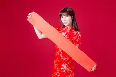 Woman and spring festival couplet. Beauty woman show empty spring festival couplets in chinese new year royalty free stock photo