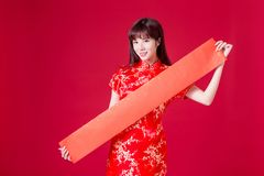 Woman and spring festival couplet. Beauty woman show empty spring festival couplets in chinese new year stock photos
