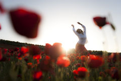 Woman in spring field. Young beautiful woman with raised arms in spring field Stock Image