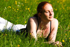 Woman on Spring Field Stock Photos