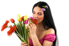 Woman with spring flowers stock image