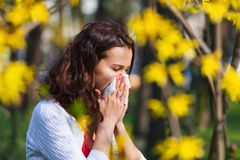 Woman with spring flu Royalty Free Stock Photography