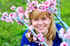 Woman in spring garden Stock Photo