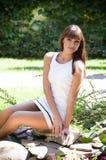 Woman in spring garden Stock Photography