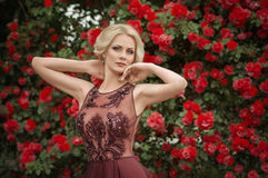 Woman in spring garden Royalty Free Stock Images