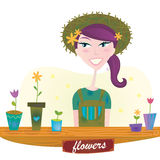 Woman with spring garden flowers vector illustration