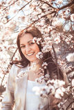 Woman in spring garden Royalty Free Stock Photo