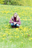 Woman on spring meadow Royalty Free Stock Photo