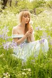 Woman Blowing Dandelions Stock Photo