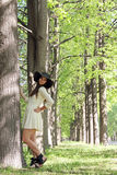 Woman in spring park Royalty Free Stock Photography